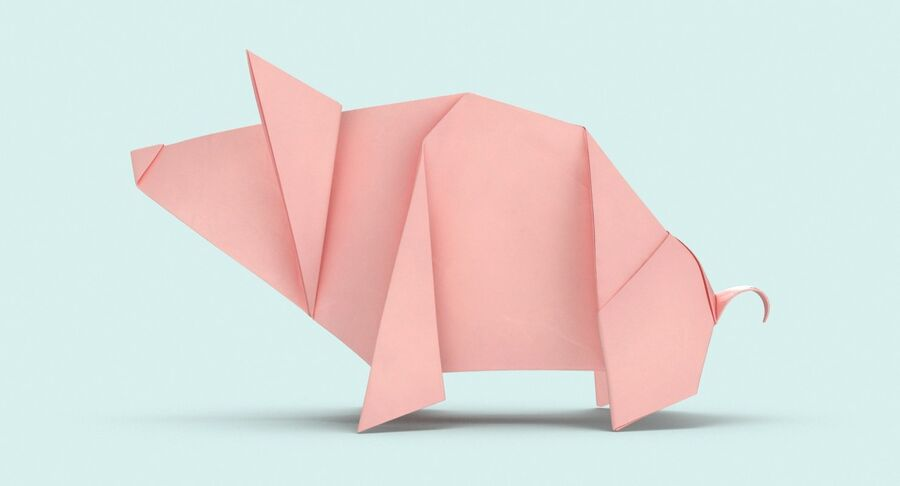 Origami Pig royalty-free 3d model - Preview no. 7