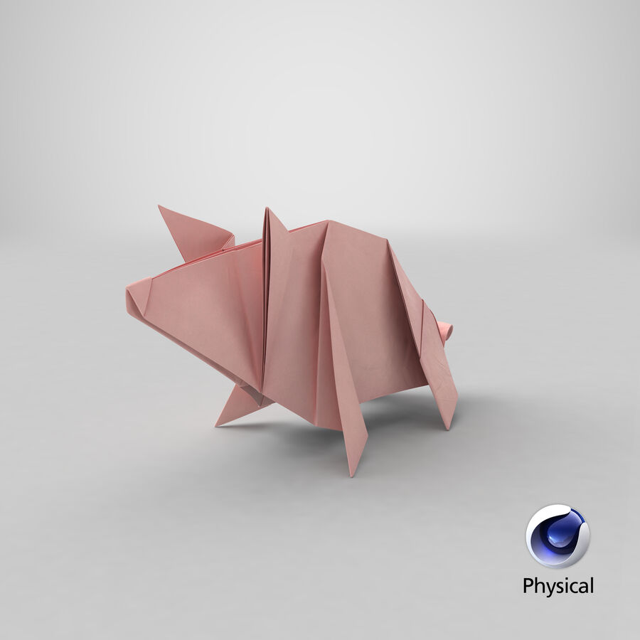 Origami Pig royalty-free 3d model - Preview no. 25