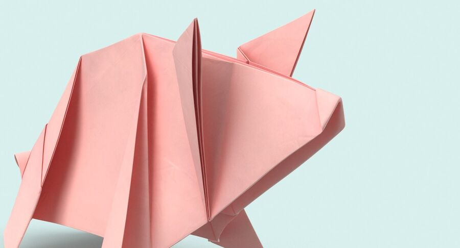 Origami Pig royalty-free 3d model - Preview no. 9