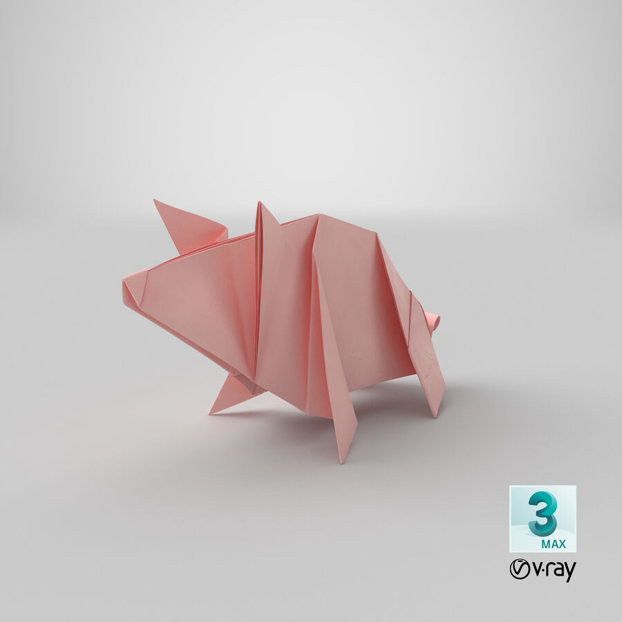 Origami Pig royalty-free 3d model - Preview no. 21