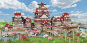 亚洲幻想城堡 3d model