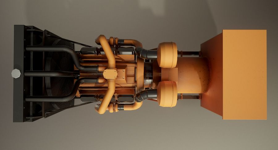 Diesel Generator royalty-free 3d model - Preview no. 7