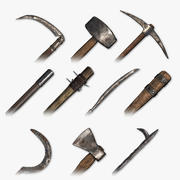 Paquete de herramientas y armas medievales modelo 3d