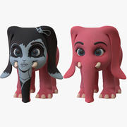 Cartoon Elephant Girl - z dwoma farbami 3d model