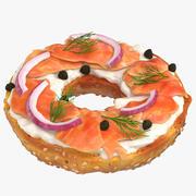 熏鲑鱼和百吉饼 3d model