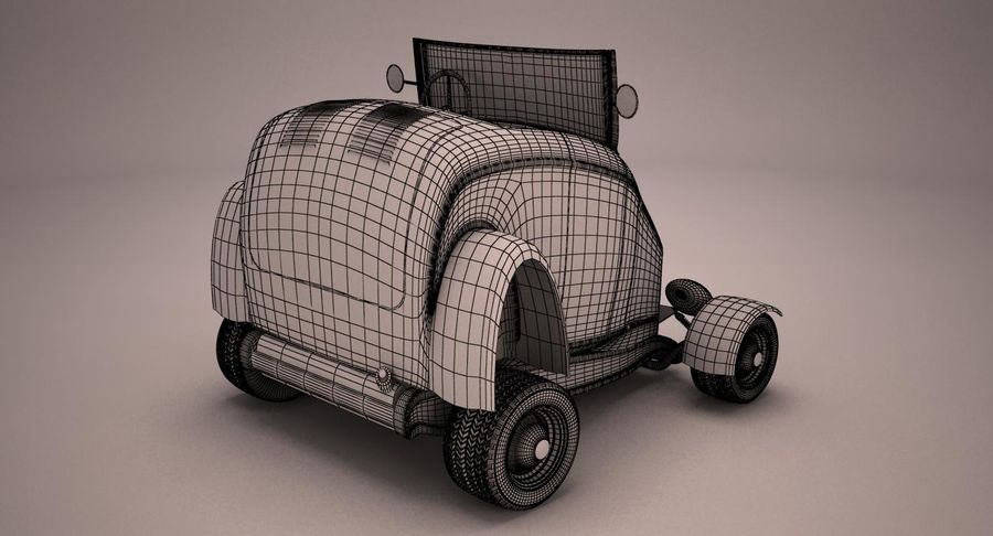 アンティーク漫画車 royalty-free 3d model - Preview no. 11