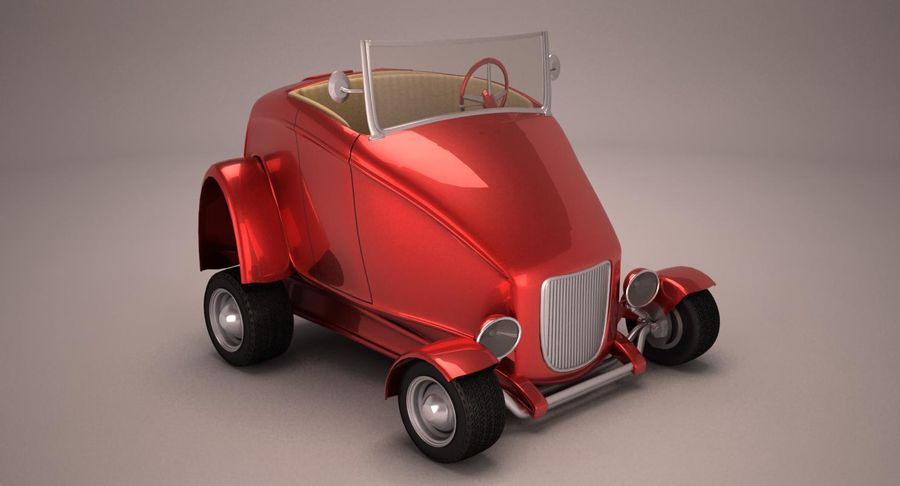 アンティーク漫画車 royalty-free 3d model - Preview no. 7