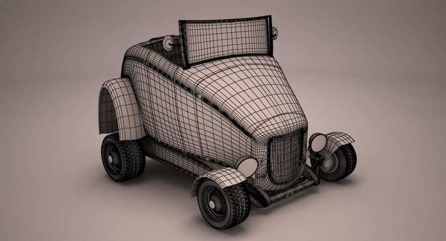 アンティーク漫画車 royalty-free 3d model - Preview no. 13