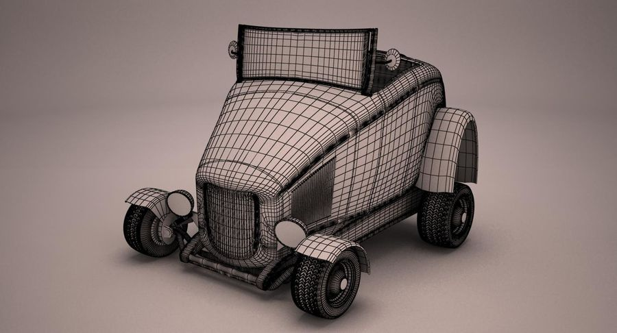 アンティーク漫画車 royalty-free 3d model - Preview no. 8