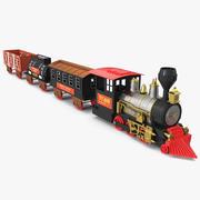 Lokomotiv för tåguppsättning för vintage tåg med vagnar riggad 3D-modell 3d model