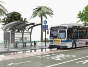 Autobús y parada de autobús modelo 3d