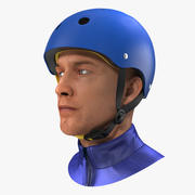 Skate Helmet on Head 3D Model 3d model
