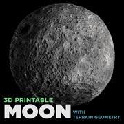 Lua imprimível em 3D (com geometria do terreno) 3d model