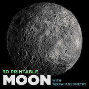 3d Printable Moon (w/Terrain geometry) 3d model