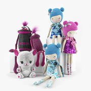 Coleção de brinquedos peluches 02 3d model