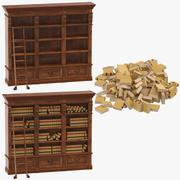 法律の棚と本 3d model