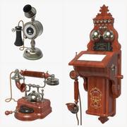 Conjunto de teléfonos antiguos modelo 3d
