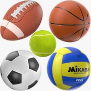 Collection de balles de sport 3d model