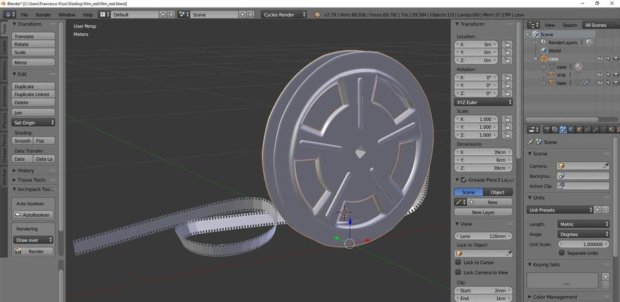 Film Reel royalty-free 3d model - Preview no. 9