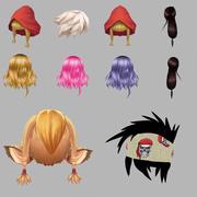 Anime Cartoon Hair Collection 3d model