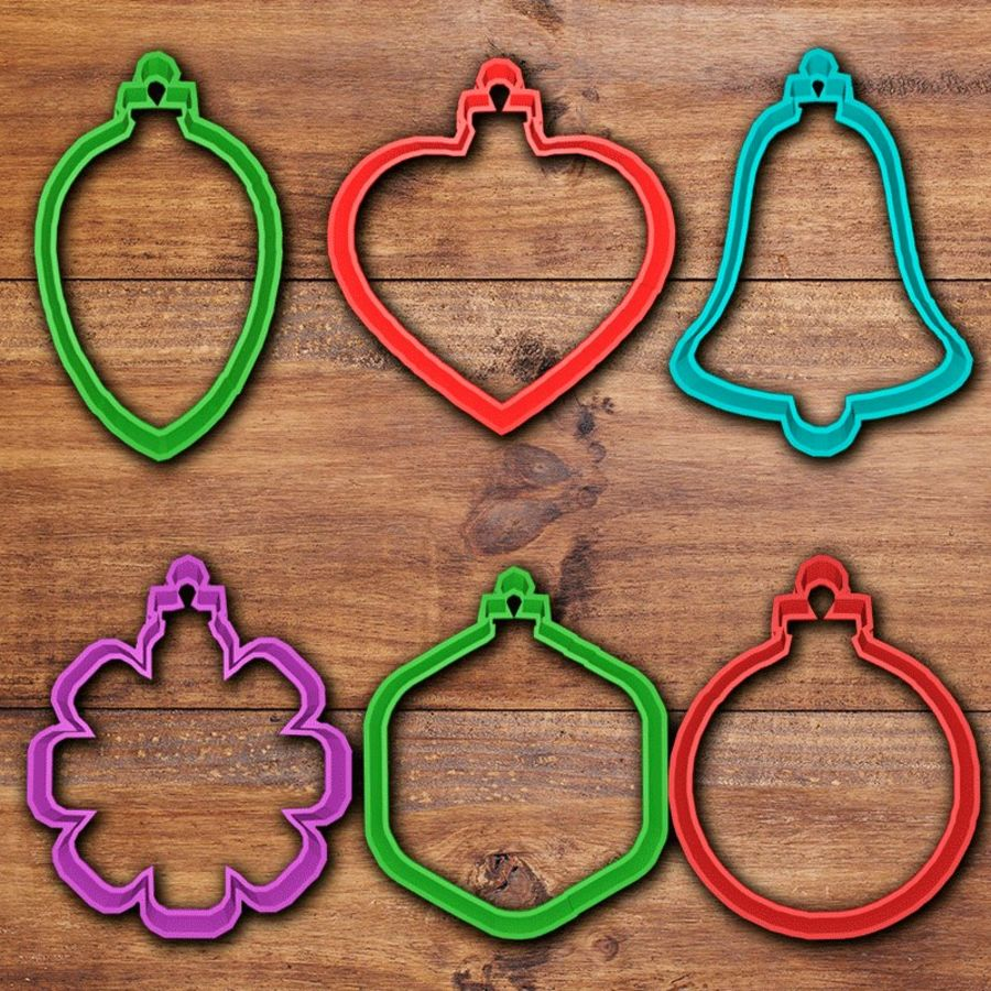 Christmas Ornaments cookie cutter set royalty-free 3d model - Preview no. 1