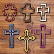 Catholic Crosses cookie cutter set 3d model