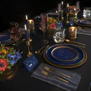 Blue night table set 3d model