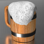 맥주와 함께 나무 찻잔 3d model