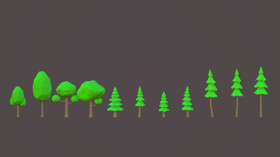 Leśny pakiet Low-Poly Tree royalty-free 3d model - Preview no. 3