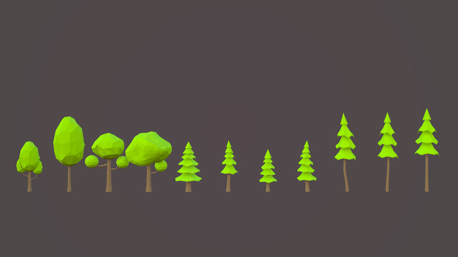 Leśny pakiet Low-Poly Tree royalty-free 3d model - Preview no. 4
