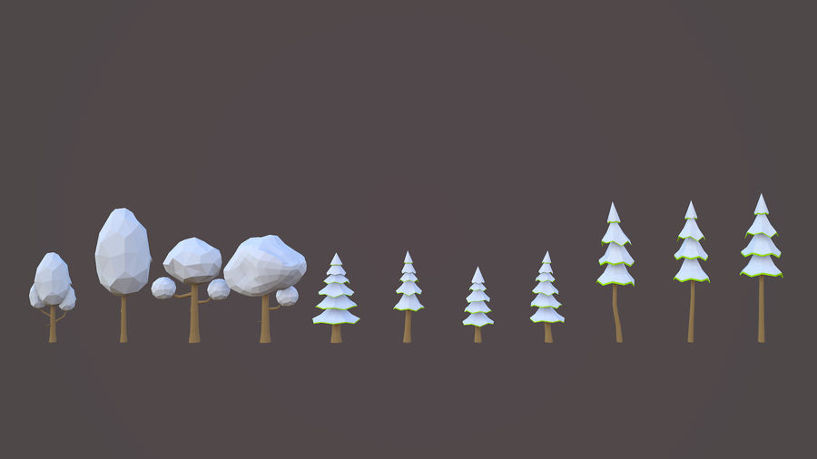 Leśny pakiet Low-Poly Tree royalty-free 3d model - Preview no. 5
