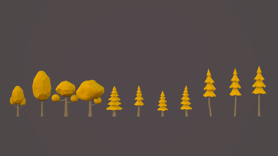 Leśny pakiet Low-Poly Tree royalty-free 3d model - Preview no. 6