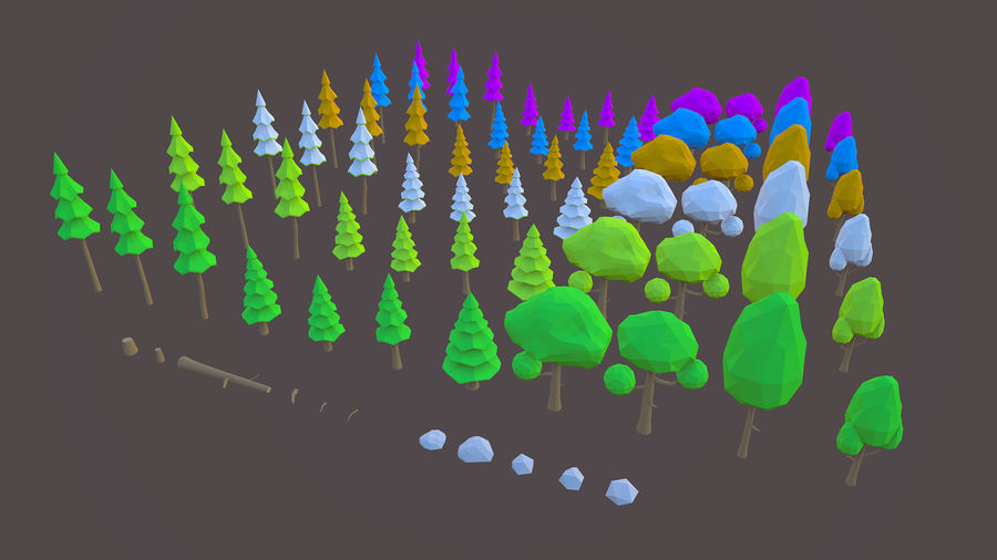 Leśny pakiet Low-Poly Tree royalty-free 3d model - Preview no. 1