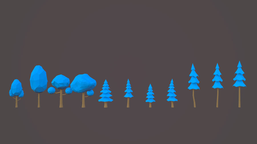 Leśny pakiet Low-Poly Tree royalty-free 3d model - Preview no. 7