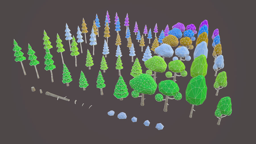 Leśny pakiet Low-Poly Tree royalty-free 3d model - Preview no. 2