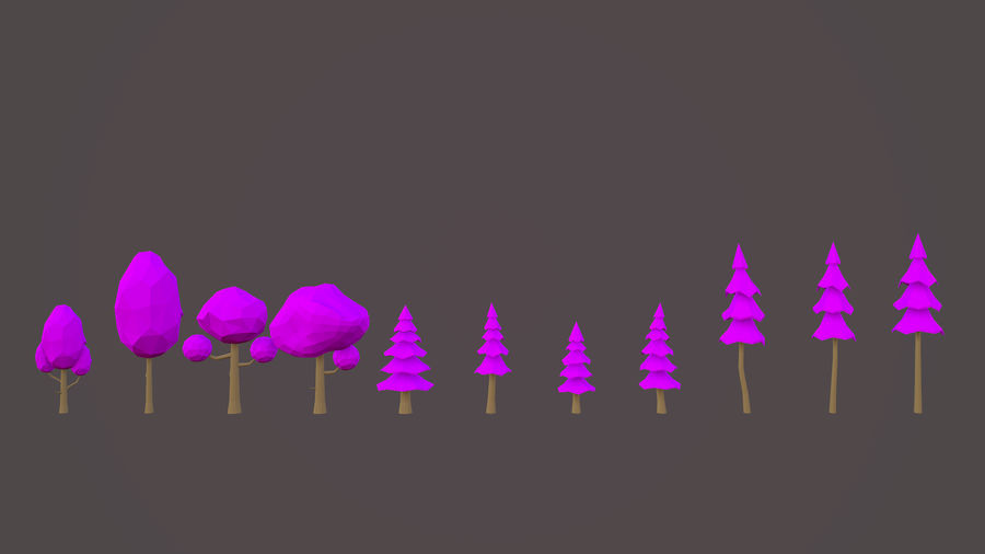 Leśny pakiet Low-Poly Tree royalty-free 3d model - Preview no. 8