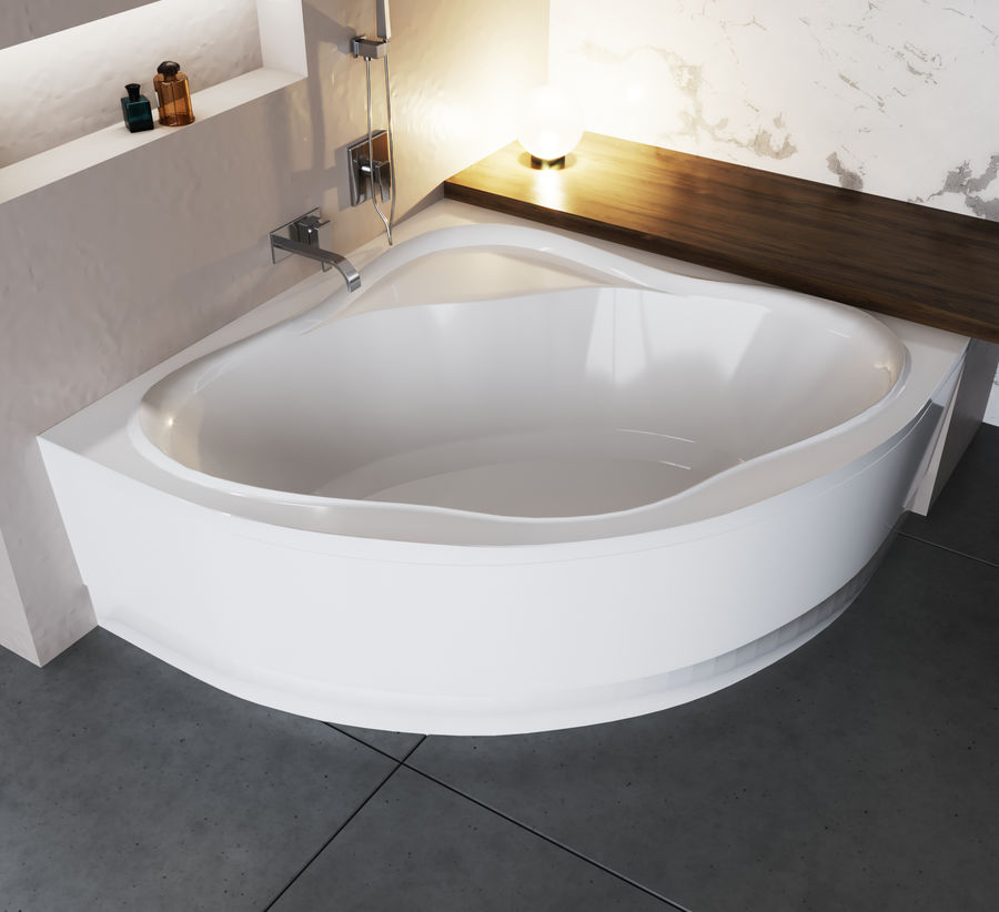 Acrylic corner bath NewDay royalty-free 3d model - Preview no. 6