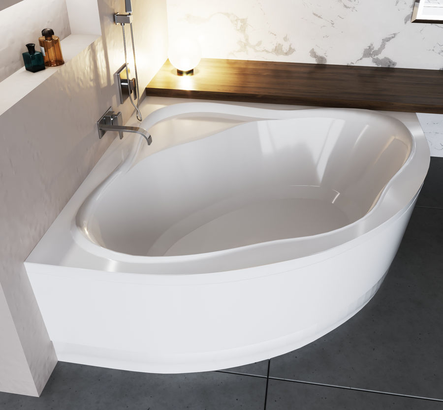 Acrylic corner bath NewDay royalty-free 3d model - Preview no. 4