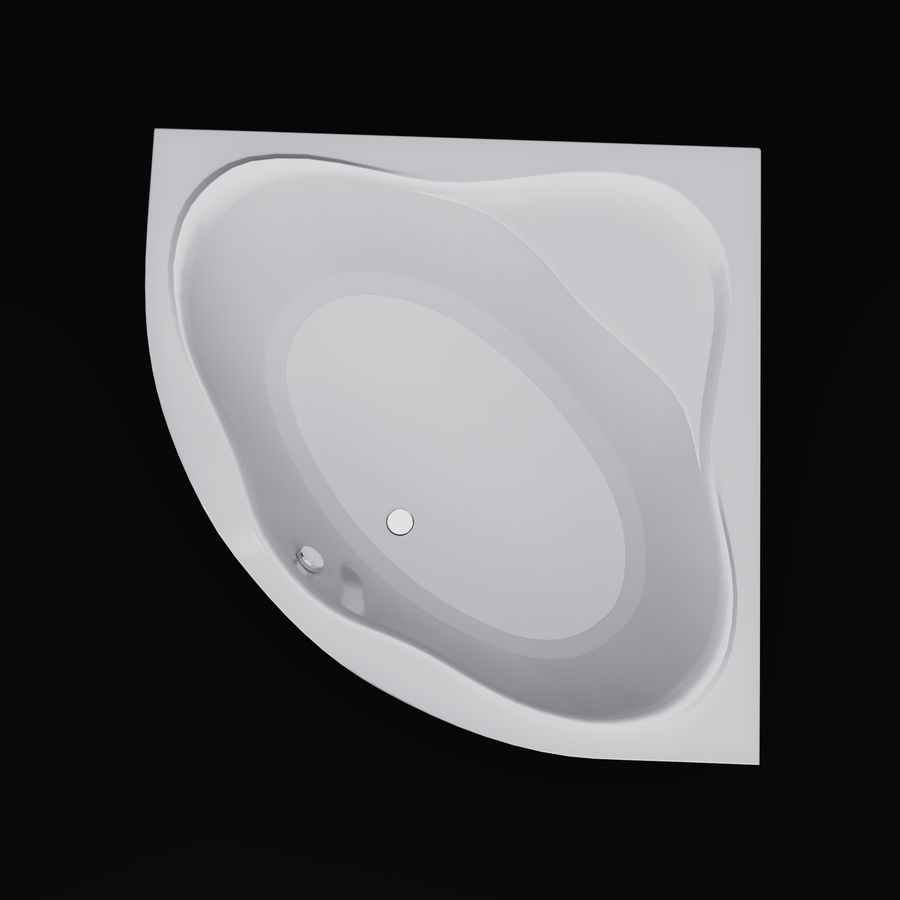 Acrylic corner bath NewDay royalty-free 3d model - Preview no. 3