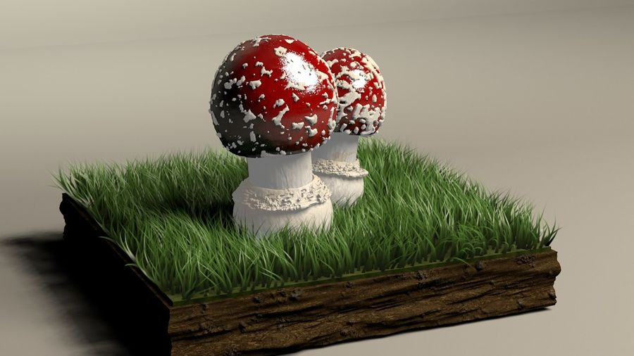 Agaricus der Pilzfliege royalty-free 3d model - Preview no. 2