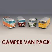 Low-Poly Cartoon Camper Pack 3d model