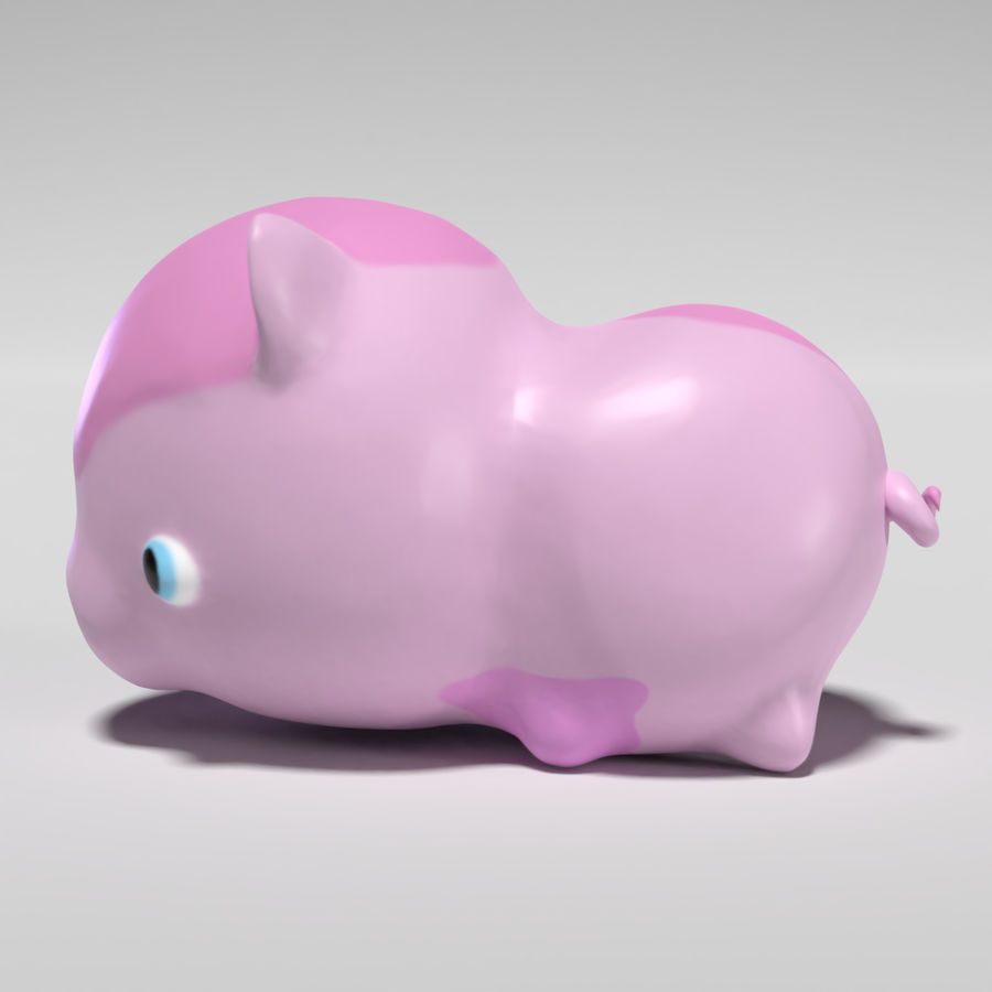 Cute Pig royalty-free 3d model - Preview no. 3