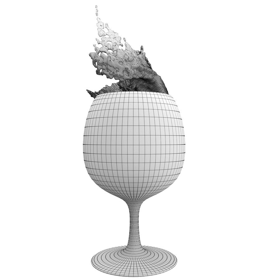 スプラッシュワイングラス3 royalty-free 3d model - Preview no. 5