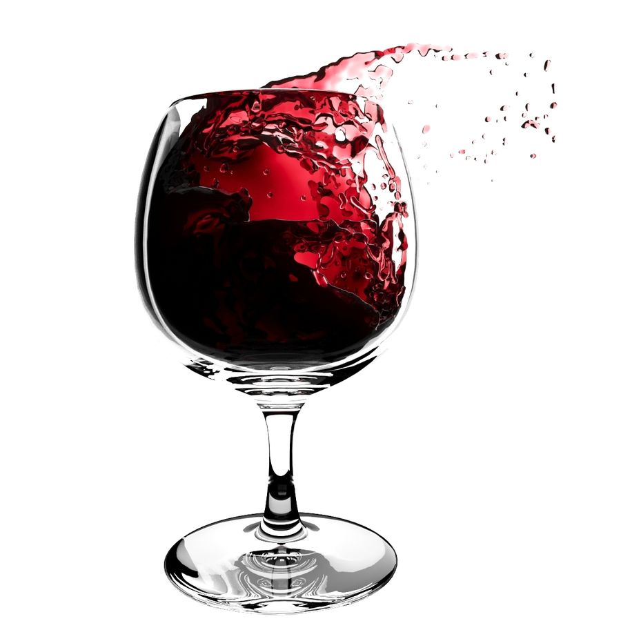 Splash Wineglass 5 royalty-free 3d model - Preview no. 3