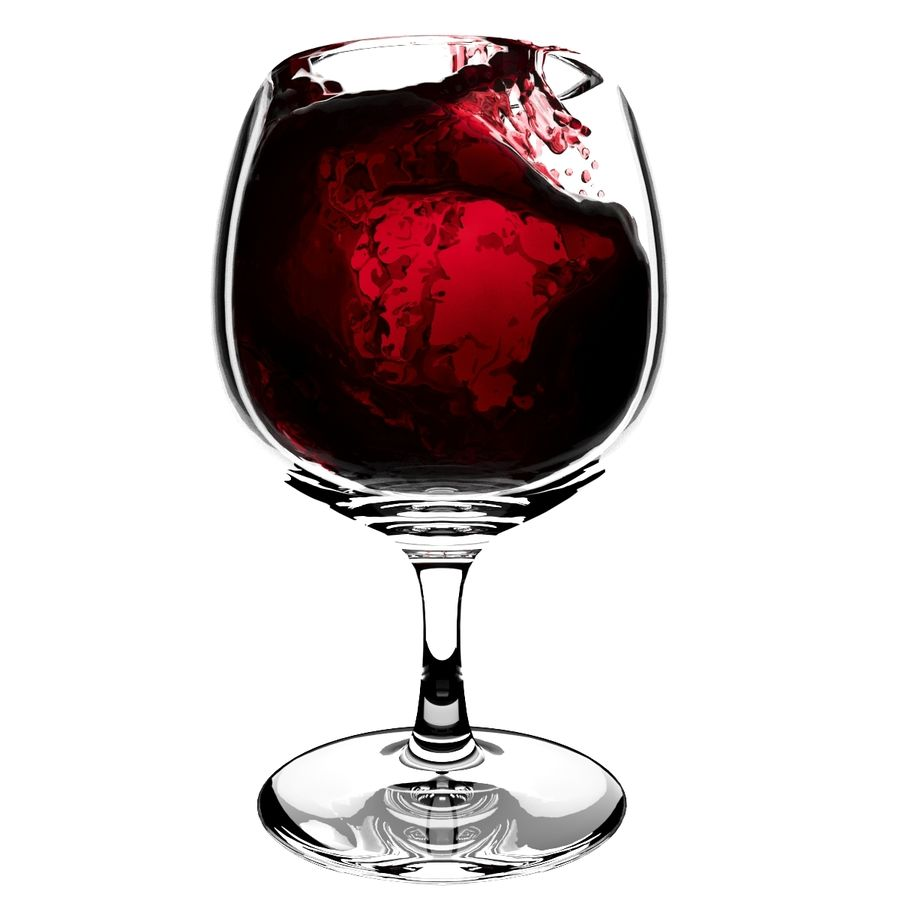 Splash Wineglass 5 royalty-free 3d model - Preview no. 4
