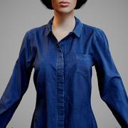 Camisa de jeans azul con bolsillo en el pecho modelo 3d