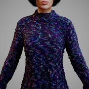 Długie rękawy z fioletowymi ozdobami 3d model