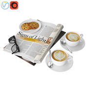 Caffè e rivista 3d model