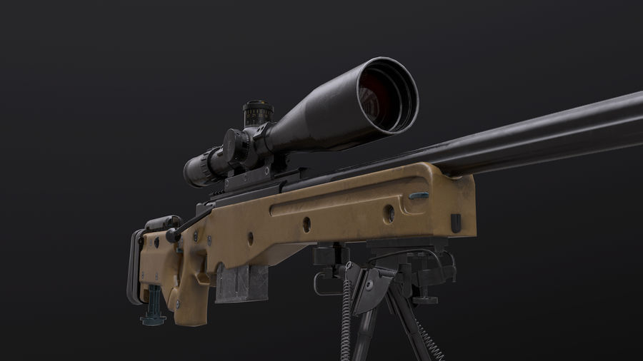 AWM AWP Sniper Rifle royalty-free 3d model - Preview no. 7