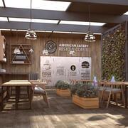 Café Restaurante Design de interiores moderno 3d model